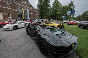 Numerous exotic cars assembled on the grounds of the Saratoga Auto Museum Friday Sept. 7, 2018 in Saratoga Springs, N.Y. for the Adirondack Road Tour and Gourmet Luncheon, which kicks off the Saratoga Wine & Food Festival, funning Friday thru Sunday.  (Skip Dickstein/Times Union)
