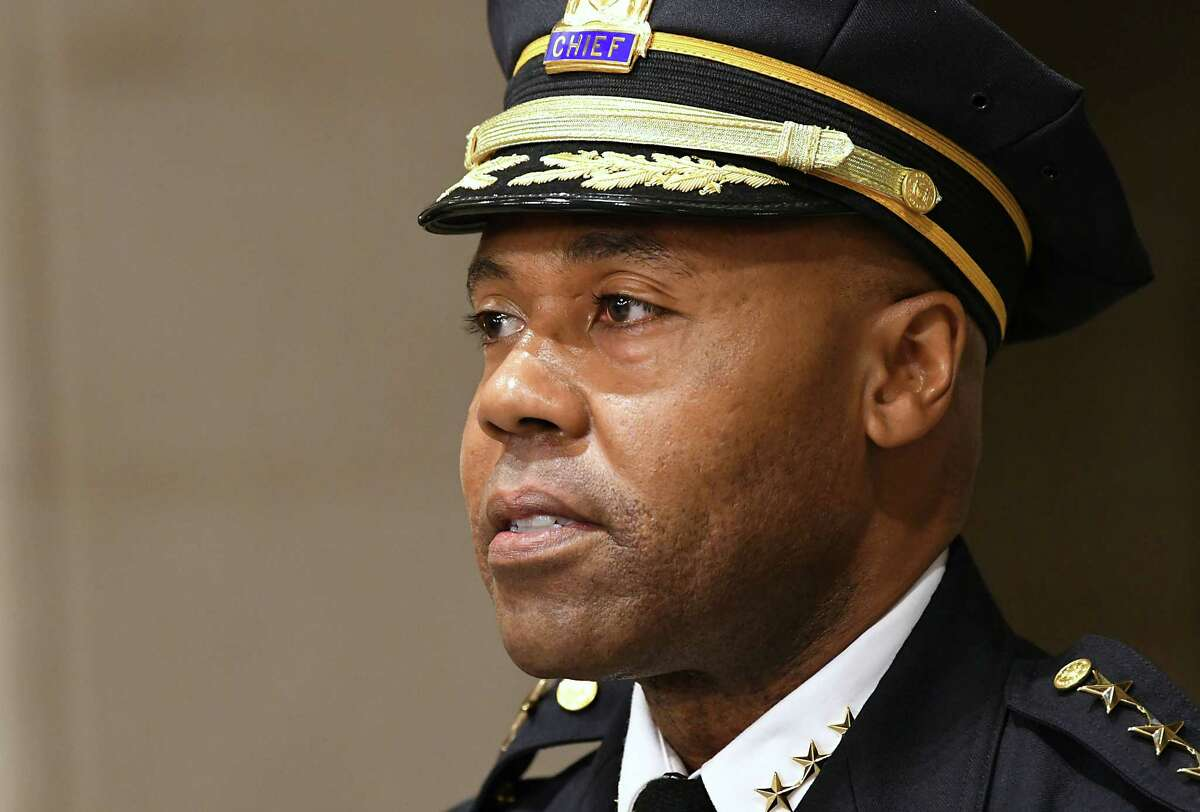 Albany Police Chief Eric Hawkins speaks after being sworn in by Albany Mayor Kathy Sheehan, left, at Albany City Hall on Friday, Sept. 7, 2018 in Albany, N.Y. (Lori Van Buren/Times Union)
