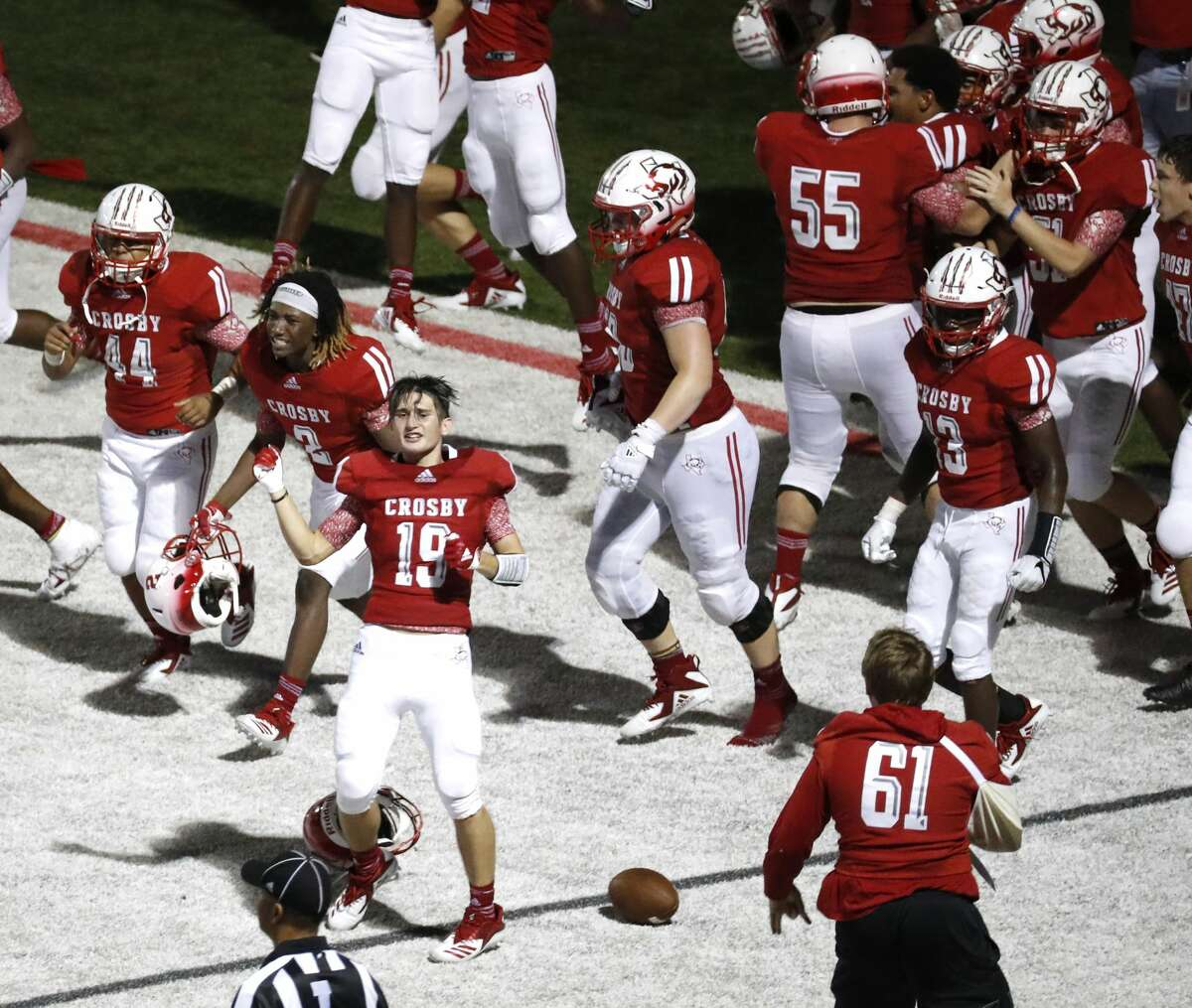 Crosby 49, Manvel 47 Crosby players storm the field after a last second touchdown to win 49-47 over Manvel during a high school football game at Cougar Stadium between Manvel and Crosby High Schools, Friday, September 7, 2018, in Crosby.