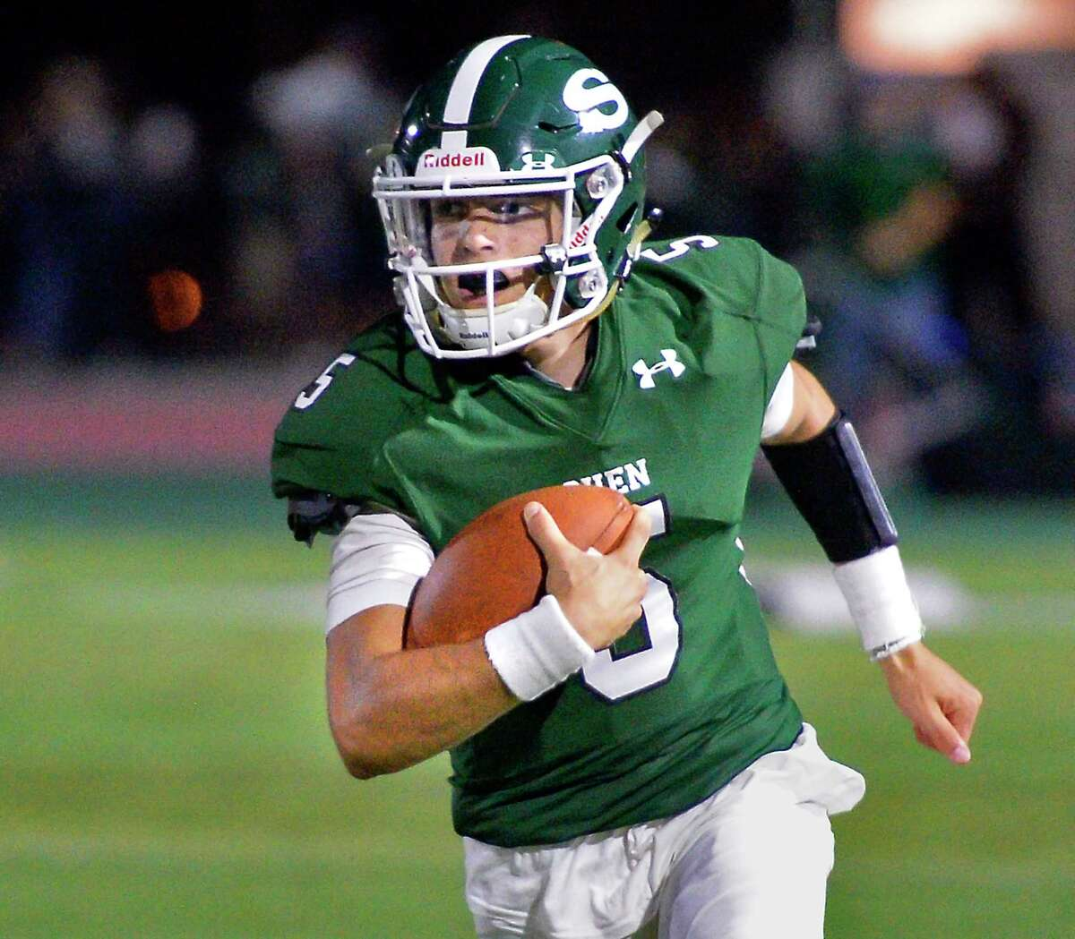 Shenendehowa quarterback Brendan Beloit scrambles to safety during Friday night's game against Colonie High Sept. 7, 2018 in Clifton Park, NY. (John Carl D'Annibale/Times Union)