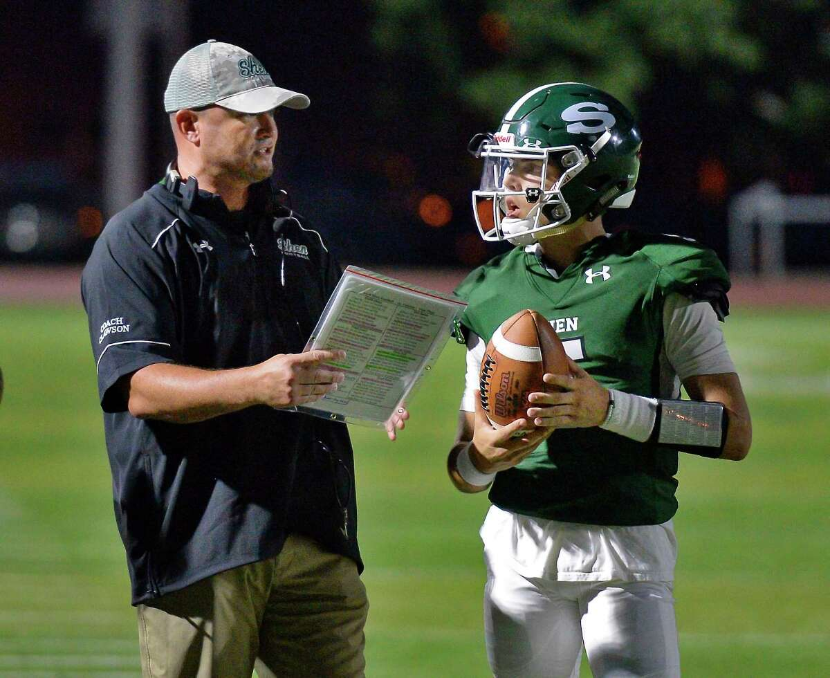 Shenendehowa head coach Brian Clawson and quarterback Brendan Beloit on the sidelines during Friday night's game against Colonie High Sept. 7, 2018 in Clifton Park, NY. (John Carl D'Annibale/Times Union)