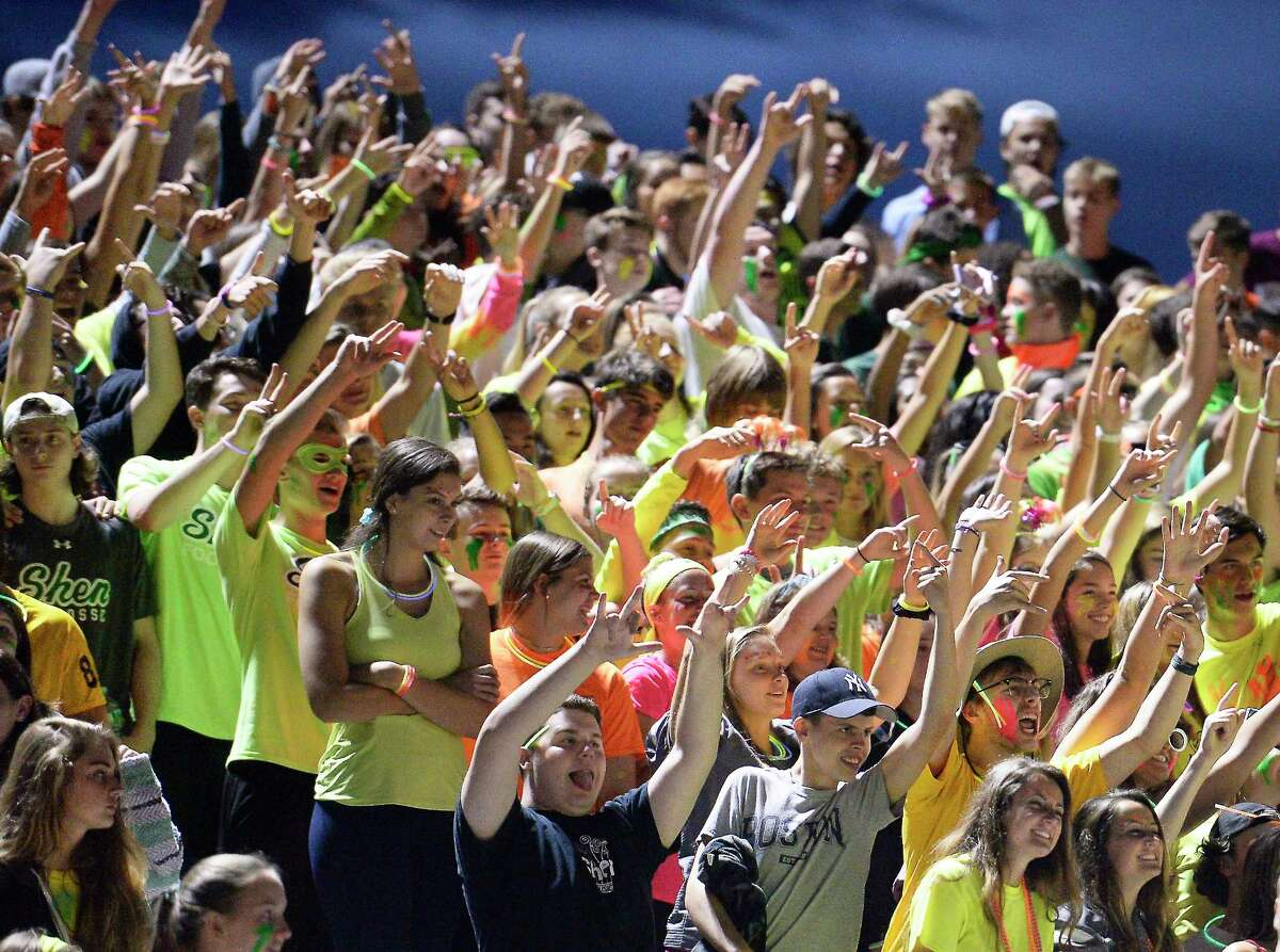 Shenendehowa students cheer their team on during Friday night's game against Colonie High Sept. 7, 2018 in Clifton Park, NY. (John Carl D'Annibale/Times Union)