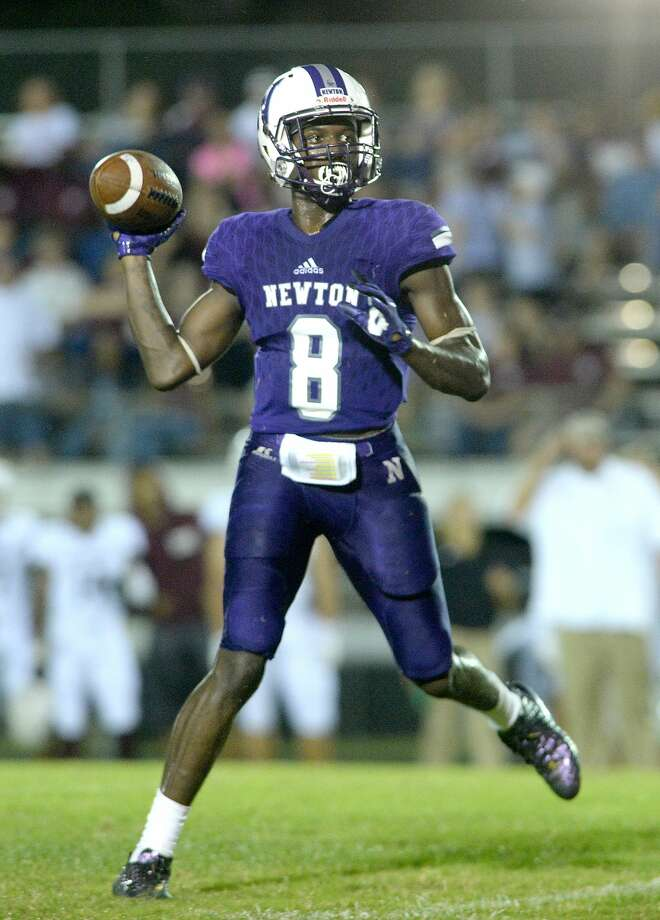 Tamauzia Brown, Newton Brown had 168 receving yards and three touchdowns - including a 62-yard pick six - in Newton's 56-14 win over Silsbee. Photo: Kim Brent/The Enterprise