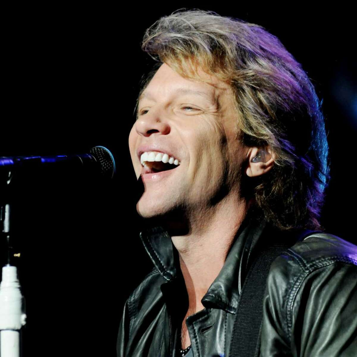 Headliner Jon Bon Jovi performs on stage at SPAC, on Sunday, July 11, 2010, Saratoga Springs, NY, before a sold out amphitheater, and huge lawn crowd. (Luanne M. Ferris / Times Union)