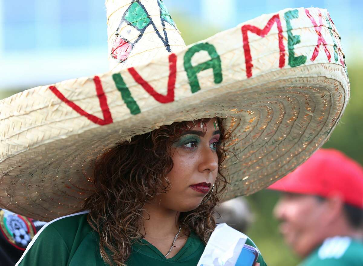Viviana Gonzalez, 23, wears a sombrero to support the Mexico men's national team before they face Uruguay at NRG Stadium Friday, Sept. 7, 2018, in Houston.