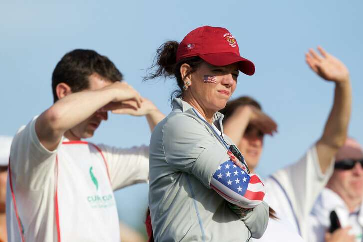 ENNISKERRY, IRELAND - JUNE 11:  Robin Burke, Captain of the United States watches play on the 16th tee during the Afternoon Fourballs on Day 2 of the Curtis Cup on June 11, 2016 in Enniskerry, Ireland. (Photo by Patrick Bolger/Getty Images)