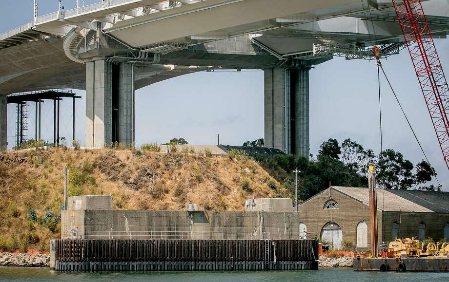 A 2017 photo shows demolition work done a year ago on one of the old Bay Bridge foundations. Photo: John Storey / Special To The Chronicle