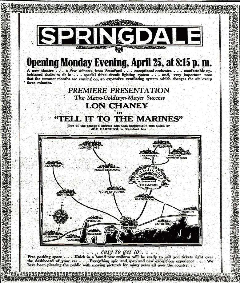 A Stamford Advocate ad from April 23, 1927 promoting the opening two days later of the Springdale (later State) theater on Hope Street in Stamford. The movie theater closed on Labor Day.