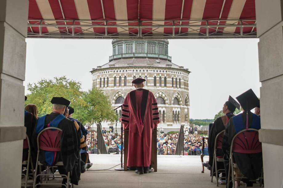 Union College President David R. Harris speaking to the crowd at his inauguration on Saturday, Sept. 8, 2018 in Schenectady. Photo: Union College / shawn LaChapelle