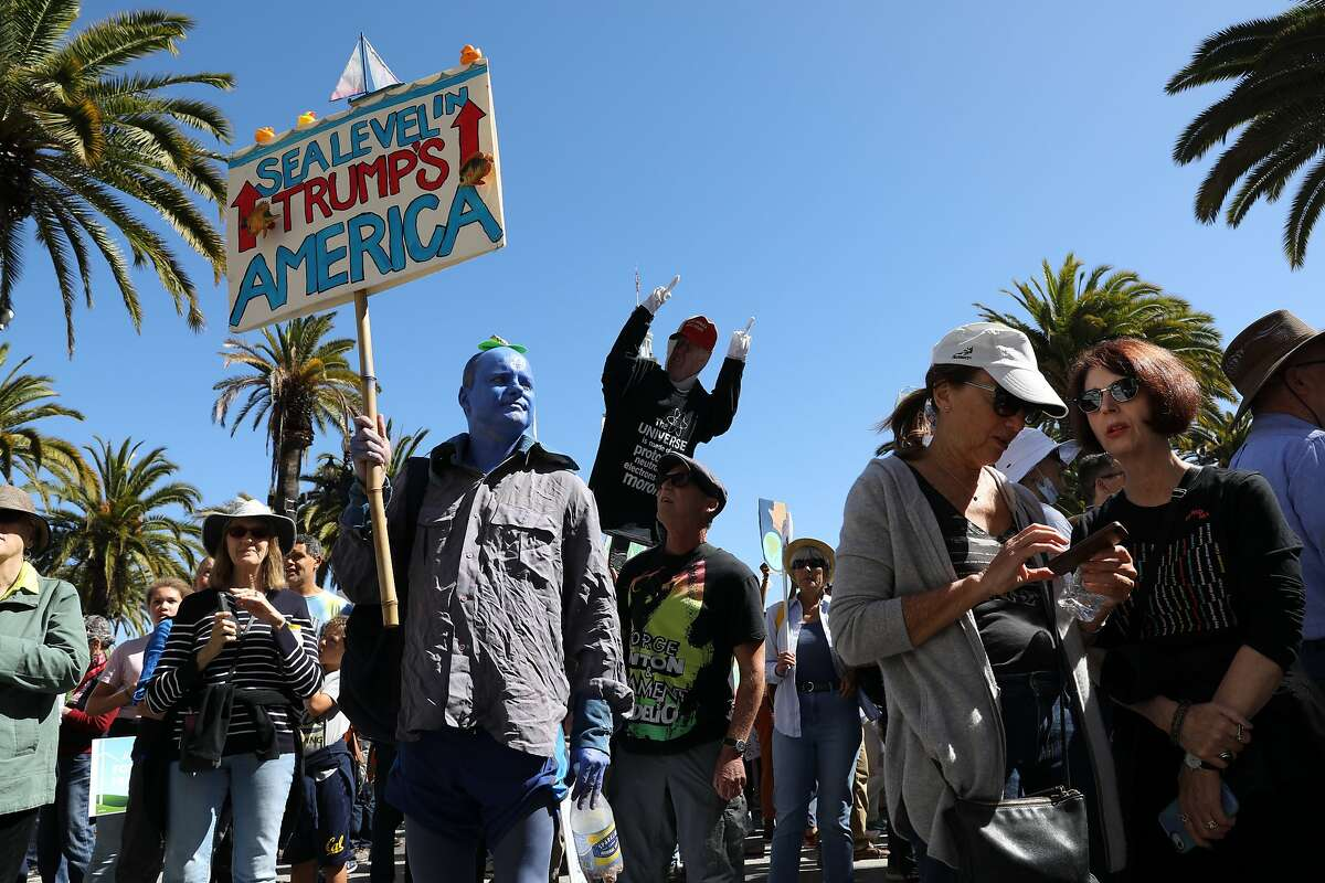 Daniel Johnson, of San Francisco, attends the RISE for Climate, Jobs, and Justice march, starting at Embarcadero Plaza, on Saturday, September 8, 2018, in San Francisco, Calif. Thousands marched through the streets of San Francisco, just days before the Global Climate Action Summit next week.
