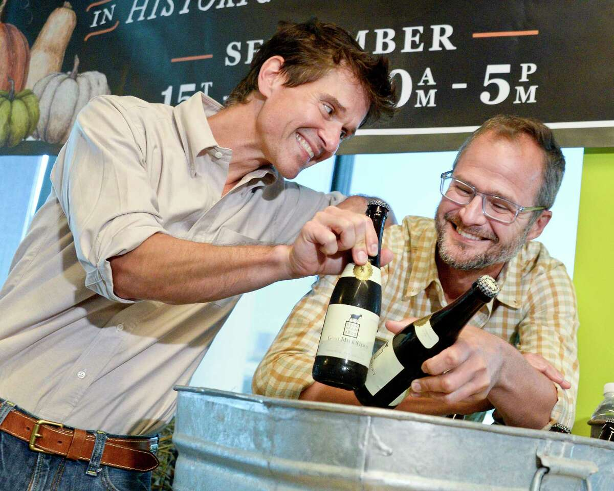 Beekman 1802 founders Brent Ridge,left, and Josh Kilmer-Purcell announce their collaboration with Brewery Ommegang to brew limited edition Goat Milk Stout Beer during a news conference Wednesday Sept. 5, 2018, in Schenectady, NY. (John Carl D'Annibale/Times Union)