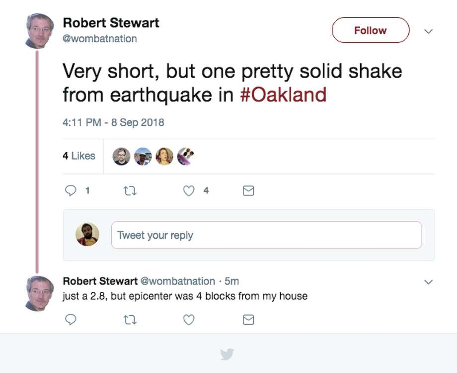 Oakland residents took to Twitter to react to 2.8 magnitude earthquake that jolted part of the East Bay on Saturday. Photo: Screengrab Via Twitter