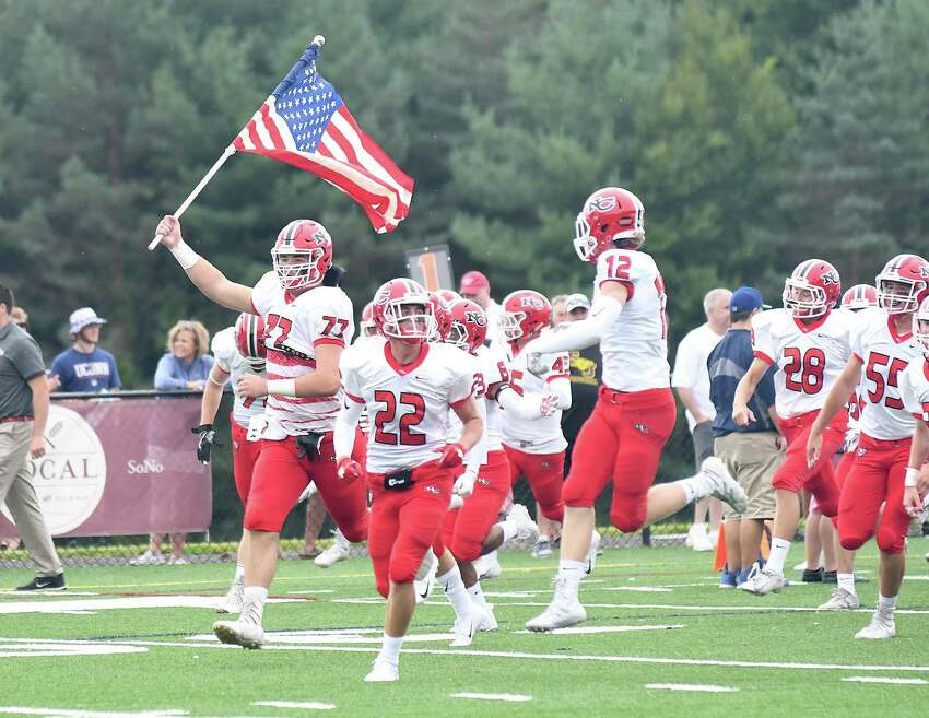 New Canaan at St. Joseph football action, Sept. 8, 2018.