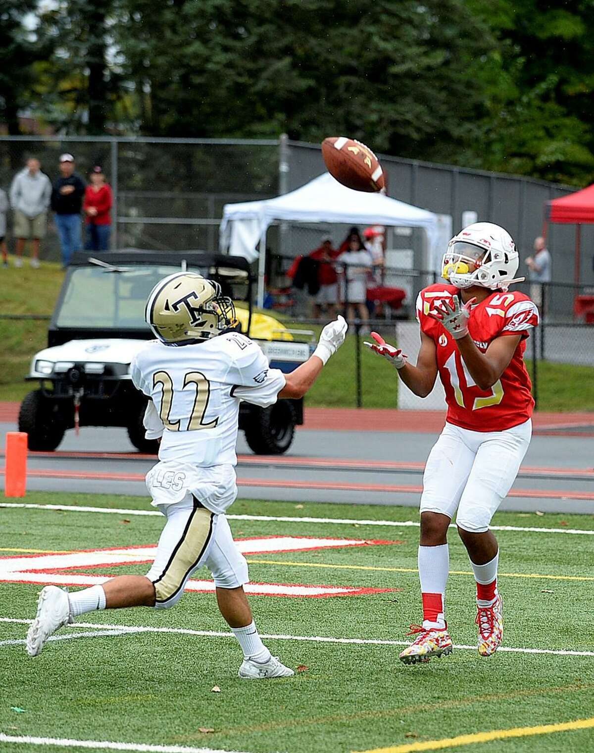 Greenwich's A.J. Barber makes a reception against Trumbull on Saturday.