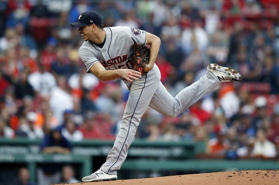 PHOTOS: Astros vs. Tigers  Houston Astros' Charlie Morton pitches during the first inning of a baseball game against the Boston Red Sox in Boston, Saturday, Sept. 8, 2018. (AP Photo/Michael Dwyer) >>>See photos from the Astros' win over the Tigers on Tuesday, Sept. 11, 2018 ...  Photo: Michael Dwyer/Associated Press