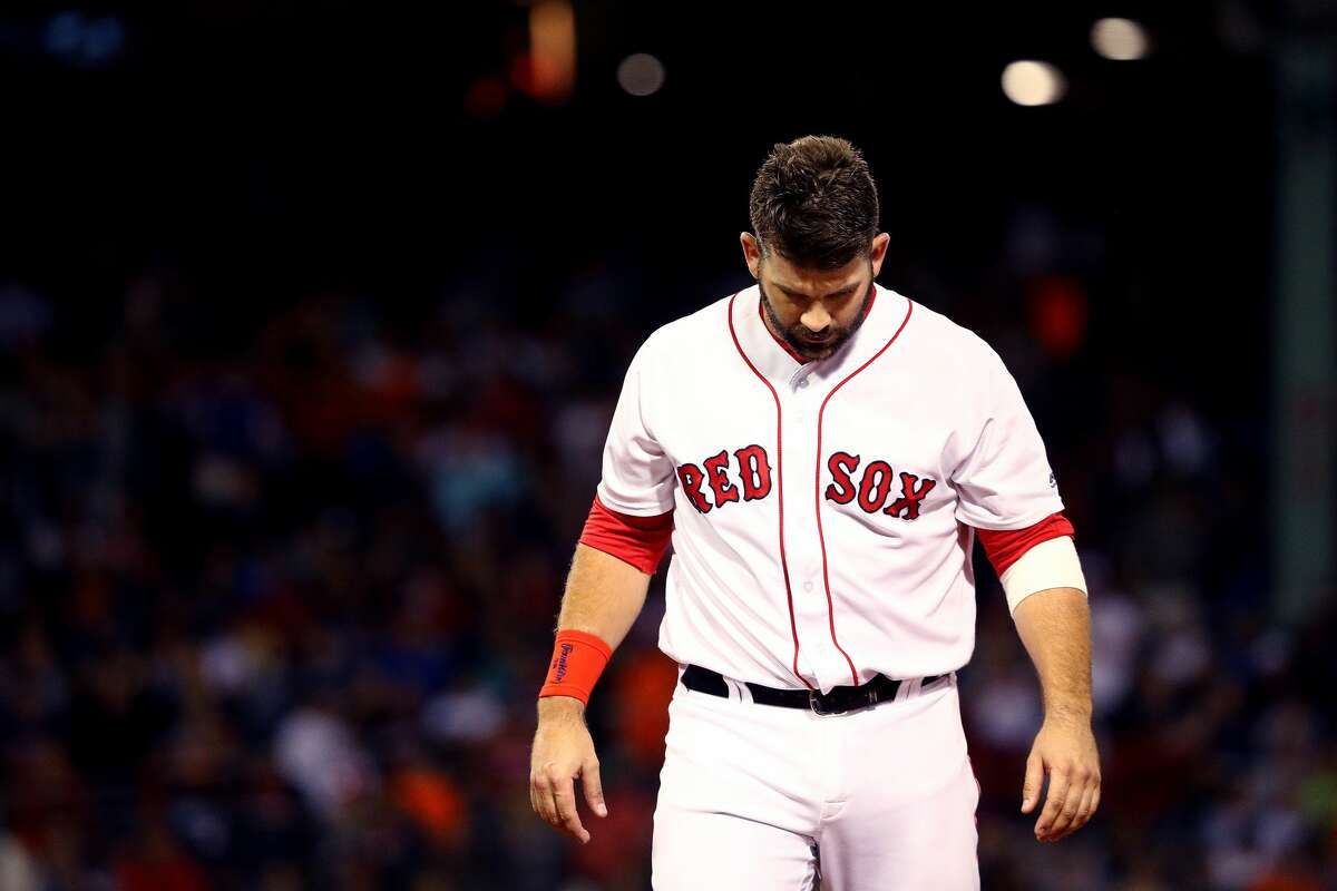 BOSTON, MA - SEPTEMBER 8: Mitch Moreland #18 of the Boston Red Sox looks on during the 9th inning against the Houston Astros at Fenway Park on September 8, 2018 in Boston, Massachusetts.(Photo by Maddie Meyer/Getty Images)