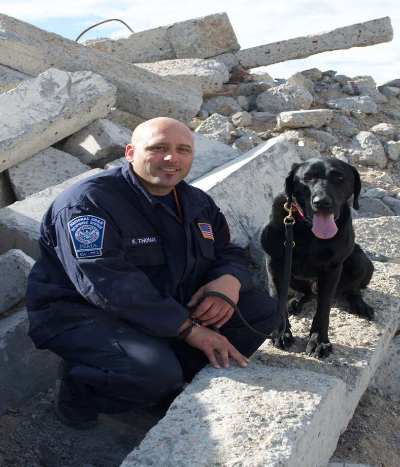 San Francisco firefighter Eli Thomas with one of the fire department's search and rescue K9s, Vader. Vader was in the spotlight for being a good boy during his station's company drills, but has overcome a lot to ascend to where he is today. Click through to see of California's most unbelievable animal stories. >>> Photo: Courtesy Of The San Francisco Fire Department