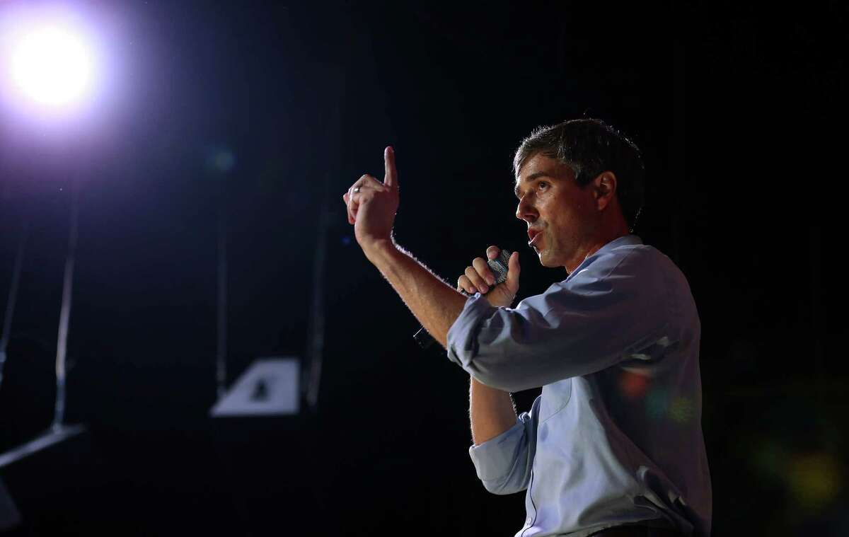 Beto O'Rourke speaks to the crowd at his rally at the Houston Stampede Event Center Saturday, Sept. 8, 2018, in Houston.