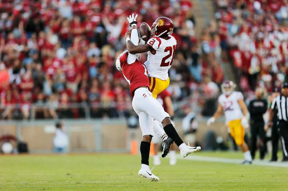 Paulson Adebo breaks up a pass intended for USC's Tyler Vaughns. Adebo had eight tackles and two pass breakups a week earlier in his collegiate debut. Photo: Santiago Mejia / The Chronicle