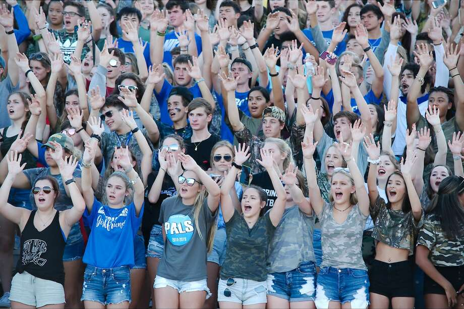 Clear Springs fans cheer on the Chargers in the game against Klein Collins Saturday, Sep. 8. at CCISD Challenger Columbia Stadium. Photo: Kirk Sides/Houston Chronicle