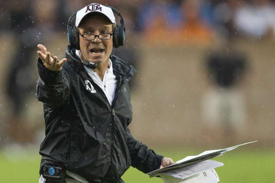 Texas A&M head coach Jimbo Fisher reacts after a call during the first half of an NCAA college football game against Clemson, Saturday, Sept. 8, 2018, in College Station, Texas. (AP Photo/Sam Craft)