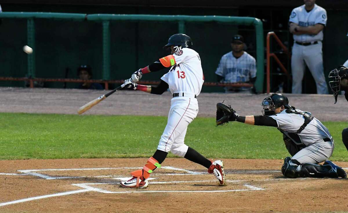 Tri-City ValleyCats Carlos Machado (13) hits a home run against the Hudson Valley Renegades during Game 1 of the New York-Penn League championship series Saturday, Sept. 8, 2018, in Troy, N.Y. (Hans Pennink / Special to the Times Union)