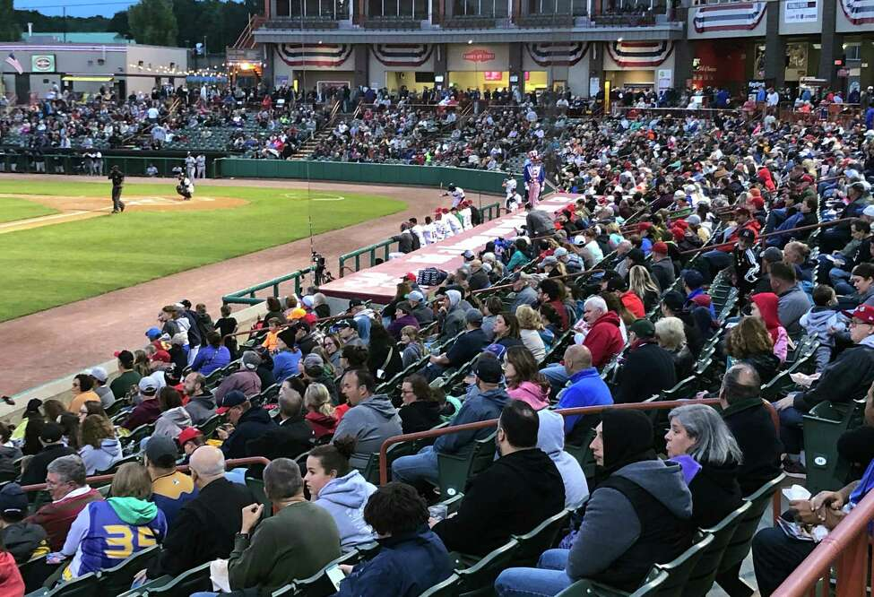 Thousands of fans pack Bruno Stadium in Troy for Game 1 of the New York-Penn League championship in 2018.