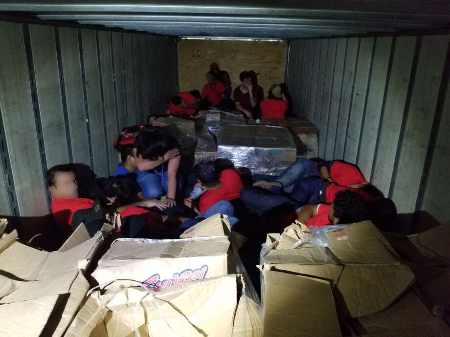Border Patrol agents encountered 55 undocumented immigrants inside a tractor-trailer. They were determined to be from Mexico, Guatemala, Brazil, Honduras and Nicaragua. Photo: Courtesy
