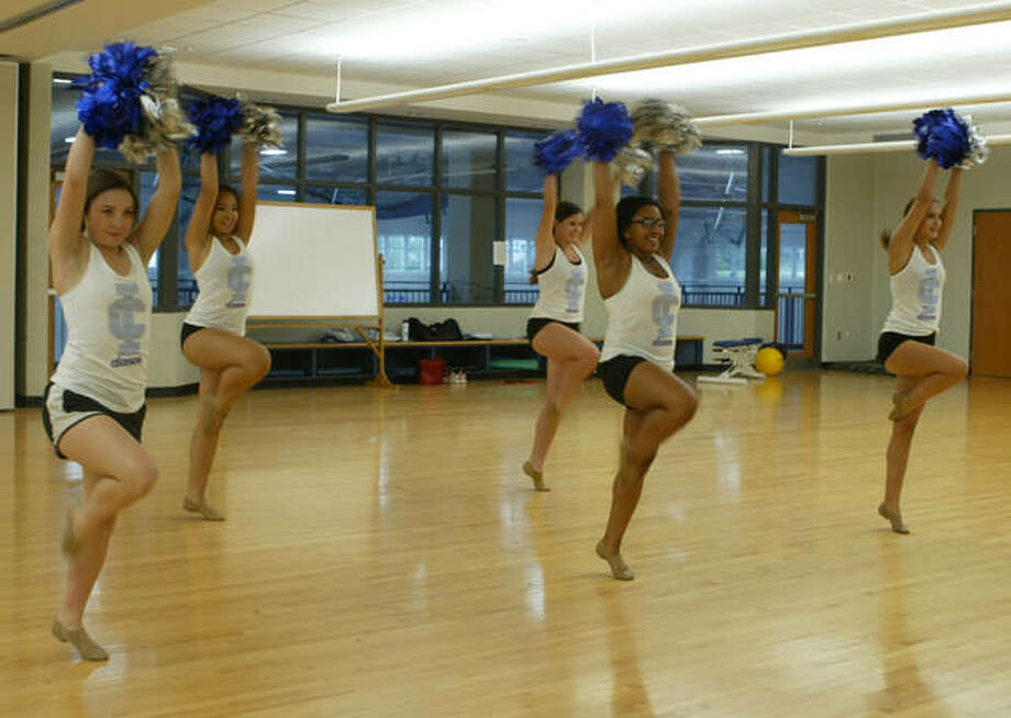 Members of the Illinois College dance team practice for their upcoming performance at Busch Stadium. Photo: Audrey Clayton | Journal-Courier