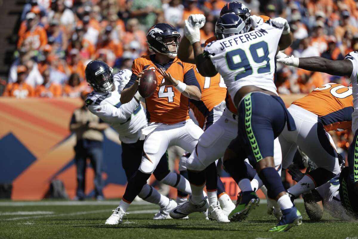 Denver Broncos quarterback Case Keenum throws a pass during the first half of an NFL football game against the Seattle Seahawk Sunday, Sept. 9, 2018, in Denver. (AP Photo/Jack Dempsey)