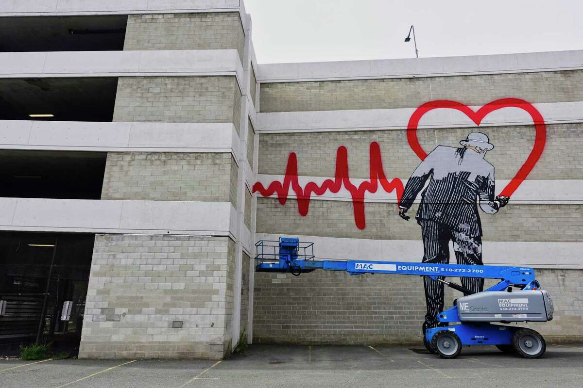 A view of the mural being painted by artist Nick Walker on the side of the Green-Hudson Parking Garage, seen here on Sunday, Sept. 9, 2018, in Albany, N.Y. (Paul Buckowski/Times Union)