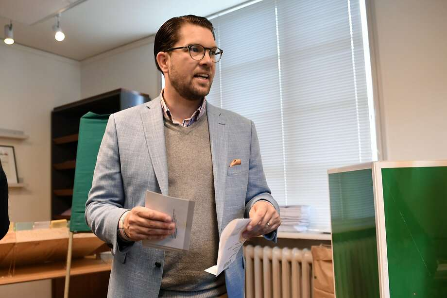 Jimmie Akesson, head of the right-wing nationalist Sweden Democrats party, votes in Stockholm. Photo: Stina Stjernkvist / TT News Agency