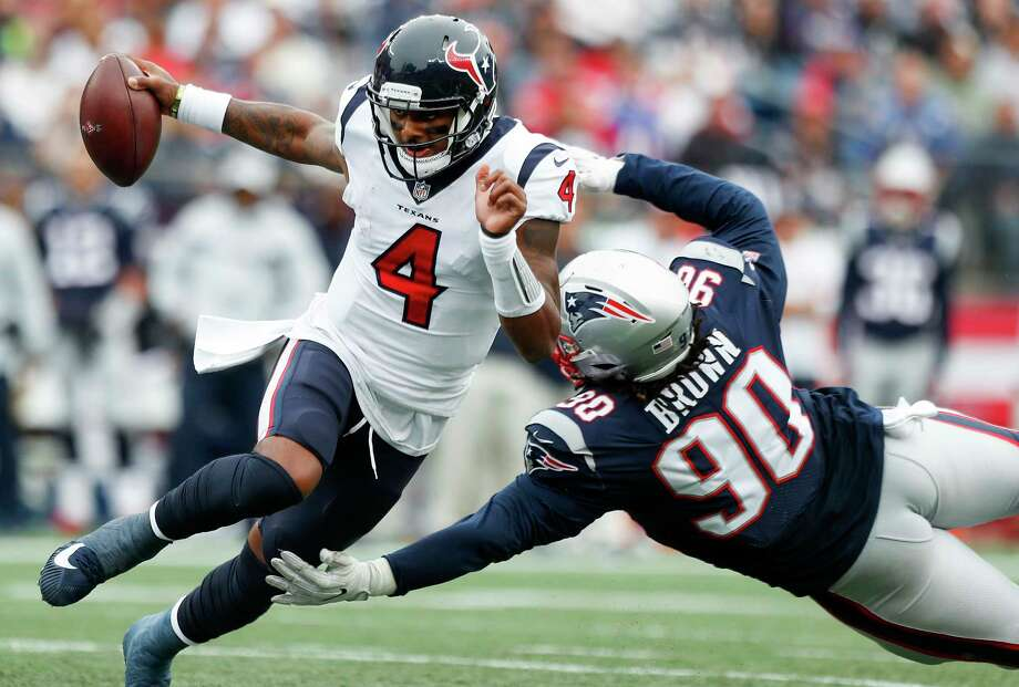 Texans quarterback Deshaun Watson was under pressure from Malcom Brown and the Patriots for most of Sunday's game. Photo: Brett Coomer, Staff Photographer / © 2018 Houston Chronicle