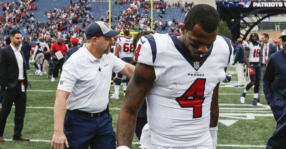 PHOTOS: Texans vs. Patriots Houston Texans quarterback Deshaun Watson (4) walks off the field following the Texans 27-20 loss to the New England Patriots at Gillette Stadium on Sunday, Sept. 9, 2018, in Foxborough, Mass. Browse through the photos to see action from the Texans' season opener at New England. Photo: Brett Coomer/Staff Photographer