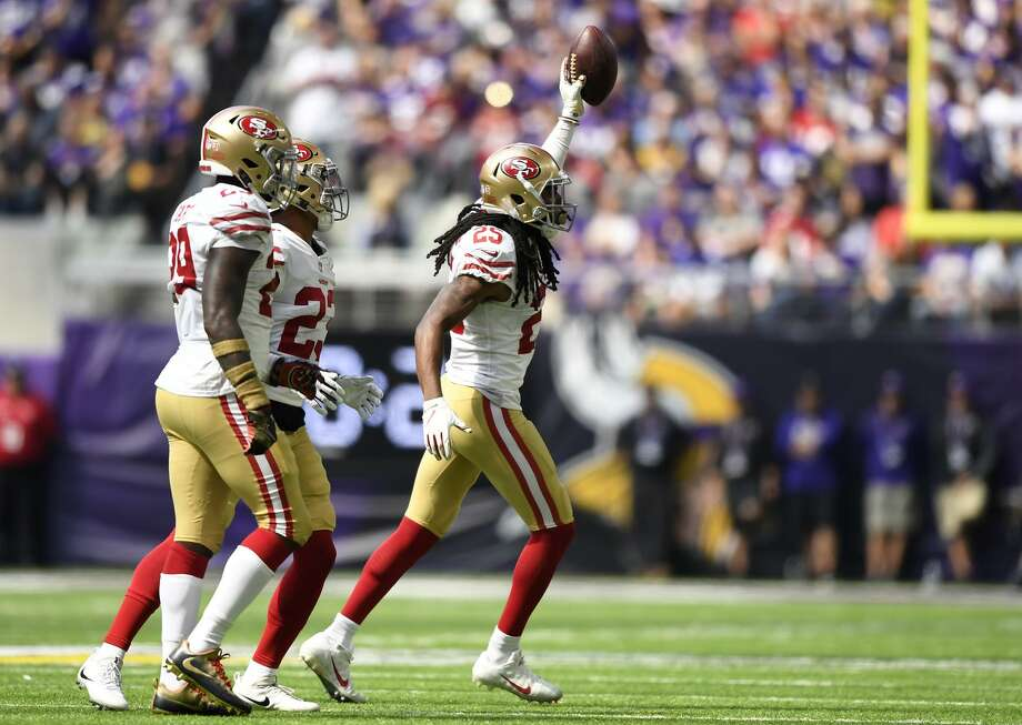 Richard Sherman of the 49ers celebrates after recovering a fumble in the first half of a 24-16 loss to the Vikings. Photo: Hannah Foslien / Getty Images / 2018 Getty Images