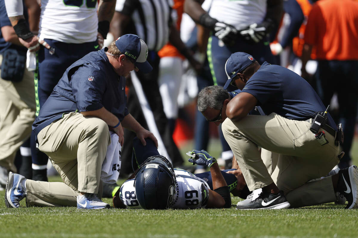 DOUG BALDWIN HAS TWO BAD KNEES NOW  The Seahawks' No. 1 receiver was ineffective on Sunday.  He didn't record a catch against the Broncos and was ruled out to play late in the game after hurting his knee in the first quarter. Head coach Pete Carroll said post game that he suffered an MCL strain in his right knee, and the timetable for return is uncertain. Baldwin, a two-time Pro Bowler, missed most of training camp and sat all four preseason games with an unspecified left knee injury. In late August, he said he was