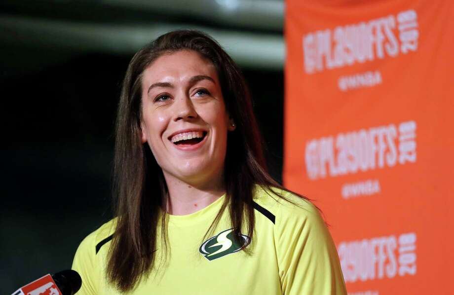 Seattle Storm's Breanna Stewart addresses media members after receiving the league's Most Valuable Player award before a semifinal basketball playoff game against the Phoenix Mercury Sunday, Aug. 26, 2018, in Seattle. (AP Photo/Elaine Thompson) Photo: Elaine Thompson / Copyright 2018 The Associated Press. All rights reserved