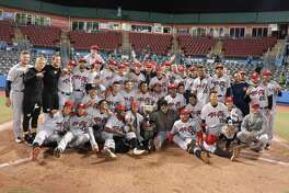 The ValleyCats' celebrate winning the New York-Penn League championship on Sunday, September 10, 2018. (Chris Chenes / Tri-City ValleyCats Baseball)
