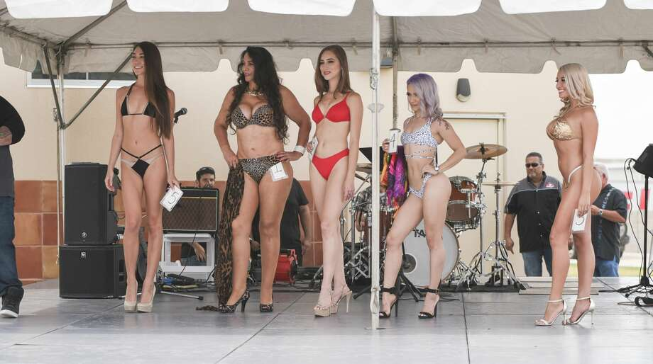 Contestants vie for a chance to compete in the Swimsuit USA International Finals during the 2018 Miss Laredo Harley Davidson Swimsuit contest on Saturday, Sept. 8, 2018 at Laredo Harley Davidson. Photo: Danny Zaragoza/Laredo Morning Times