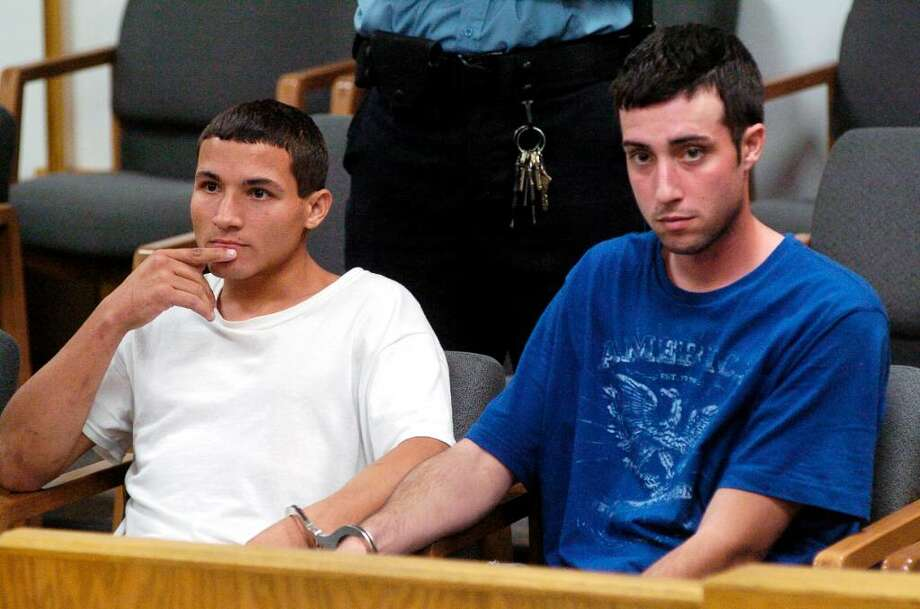 Timothy Nikolis, 24, and Christopher Wallace, 24, are arraigned in State Superior Court in Norwalk, Conn. on Monday July 12, 2010 on separate robbery charges. Wallace faces first-degree robbery and multiple drug charges. Nikolis was charged with first-degree robbery, conspiracy and third-degree larceny. Photo: Dru Nadler / Stamford Advocate
