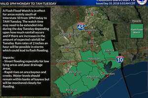 A flash flood watch is in effect until Tuesday, Sept. 11, 2018.