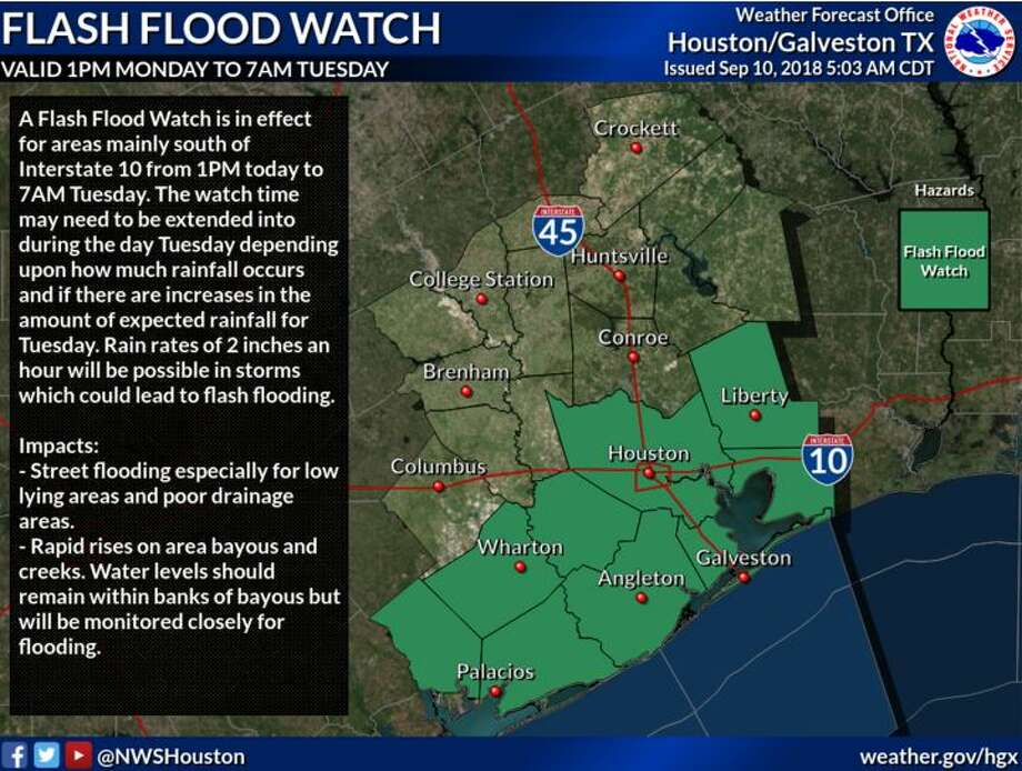 PHOTOS: Get readyA flash flood watch is in effect until Tuesday, Sept. 11, 2018. >>Avoid these streets if heavy rains occur... Photo: National Weather Service Houston/Galveston