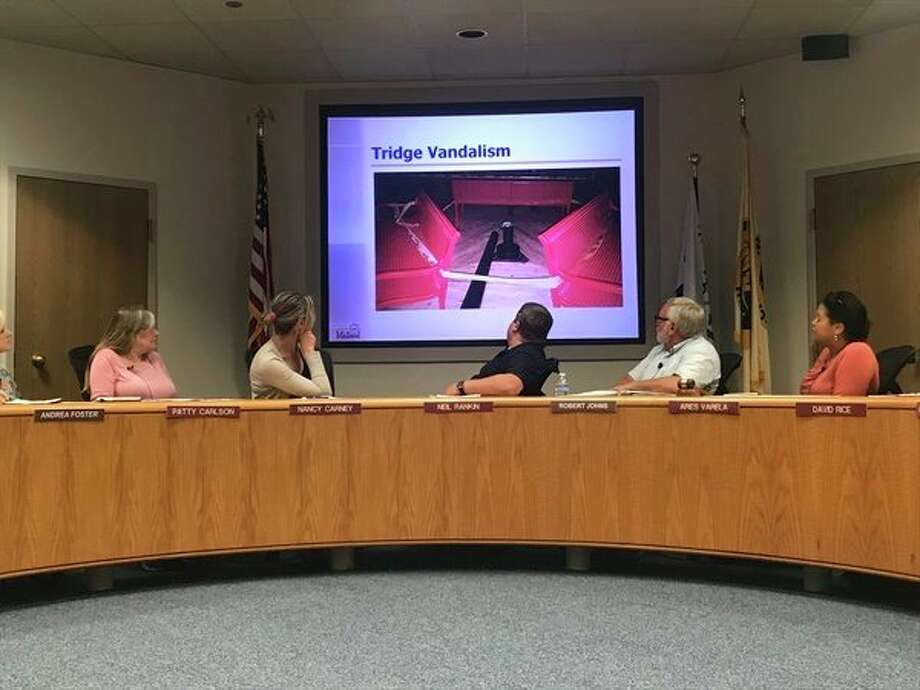 The vandalism of the Tridge center pole is discussed at this week's City of Midland Parks and Recreation meeting.