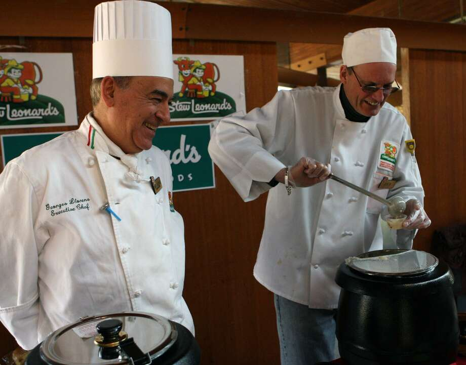 Chef George Llorens, left, and Joe Breisler offer clam chowder and lobster bisque from Stew Leonard's at the 2008 Chowdafest at the Unitarian Church of Westport.The 3rd annual Chowdafest competition will be held on Saturday, February 5, 2011 from 11 a.m. ñ 4 p.m. at Bedford Middle School, 88 North Avenue, Westport. The event raises money for The CT Food Bank. Photo: B.K. Angeletti / ST / Connecticut Post