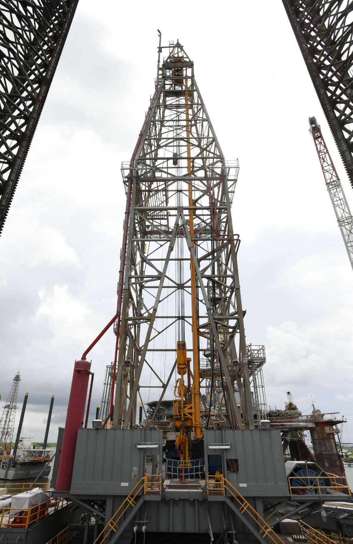 The Atlantis 7 drilling platform in Sabine Pass on Friday. With a 25,000 foot drilling reach, the platform is undergoing final inspections and expected to return to operation soon. As the barrel cost of oil has increased in the past 18 months, the demand for workers has increased in the south Jefferson County community. Photo taken Friday, 9/7/18