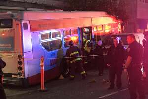 A Muni bus crashed into the Days Inn on Lombard Street Monday morning,  causing four injuries, according to the San Francisco Fire Department.