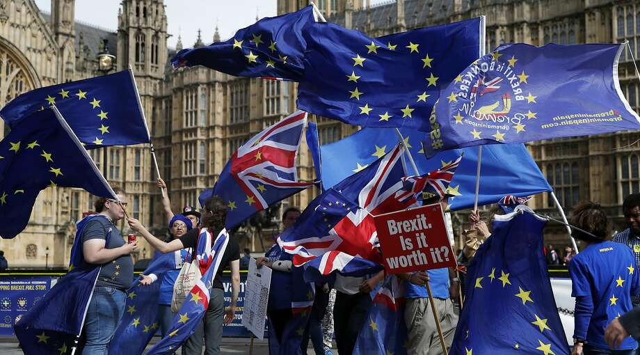 Opponents of Britain leaving the European Union rally outside Parliament in London. Port managers fear massive disruption to their operations if the terms of Brexit are not resolved. Photo: Alastair Grant / Associated Press