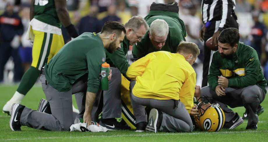 Green Bay Packers quarterback Aaron Rodgers is hurt after being sacked during the first half of an NFL football game against the Chicago Bears Sunday, Sept. 9, 2018, in Green Bay, Wis. (AP Photo/Morry Gash) Photo: Morry Gash, Associated Press / Copyright 2018 The Associated Press. All rights reserved.