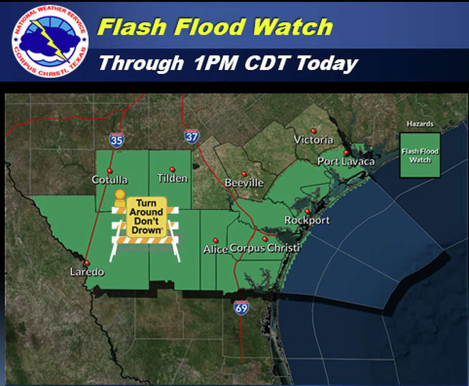 The National Weather Service has extended a flash flood watch for Webb County until 7 a.m Tuesday. Photo: National Weather Service