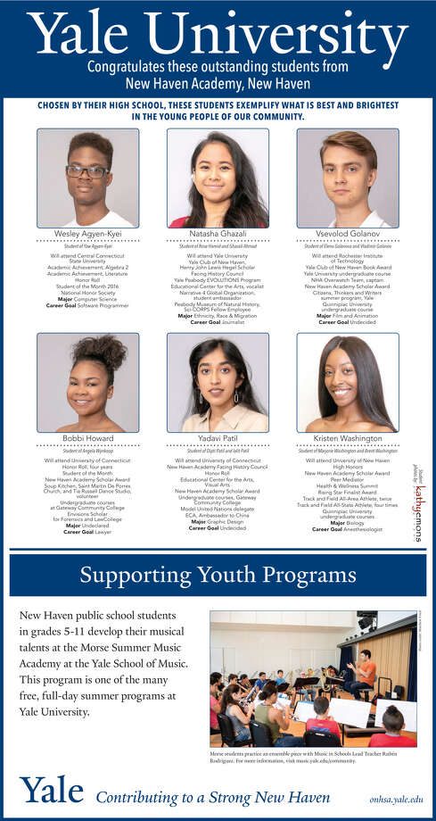 "The Register's annual ""Senior Spotlight"" series, sponsored by Yale University, spotlights talented New Haven-area high school seniors and shares information about them their dreams for the future. Congratulations  New Haven Academy. Photo: Kathy Emons"